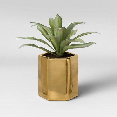 Artificial Small Plant with Gold Pot - Project 62™