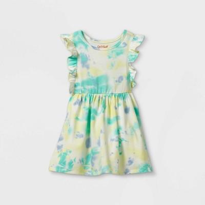 Toddler Girls' Tie-Dye Ruffle Short Sleeve Dress - Cat & Jack™ Blue/Green