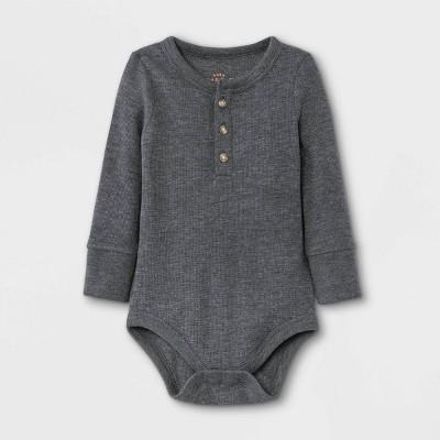 Baby Boys' Henley Thermal Long Sleeve Bodysuit - Cat & Jack™ Charcoal Gray 18M