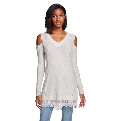 Women's Pullover Cold Shoulder with Lace Sweater - Knox Rose™ - image 1 of 2