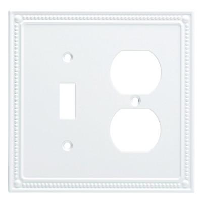 Franklin Brass Classic Beaded Switch/Duplex Wall Plate White