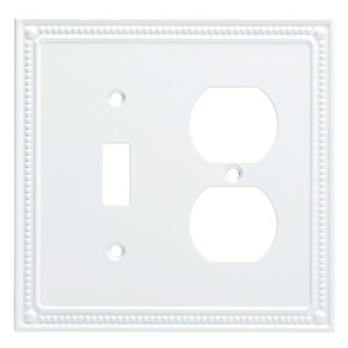 Classic Beaded Switchduplex Wall Plate Pure White Franklin Brass