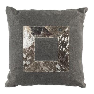 "Grayer Metallic Cowhide Pillow - Grey/Silver - 20"" X 20""  - Safavieh"