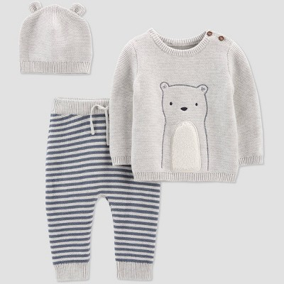 Baby Boys' 3pc Bear Sweater Top & Bottom Set - Just One You® made by carter's Gray/Blue 6M