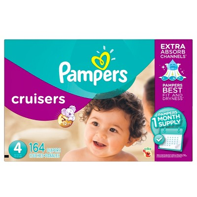 Pampers Cruisers Diapers One Month Supply Pack Size 4 (164 ct)