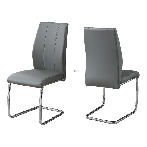 Dining Chair - Gray Leather & Chrome - EveryRoom - image 1 of 2