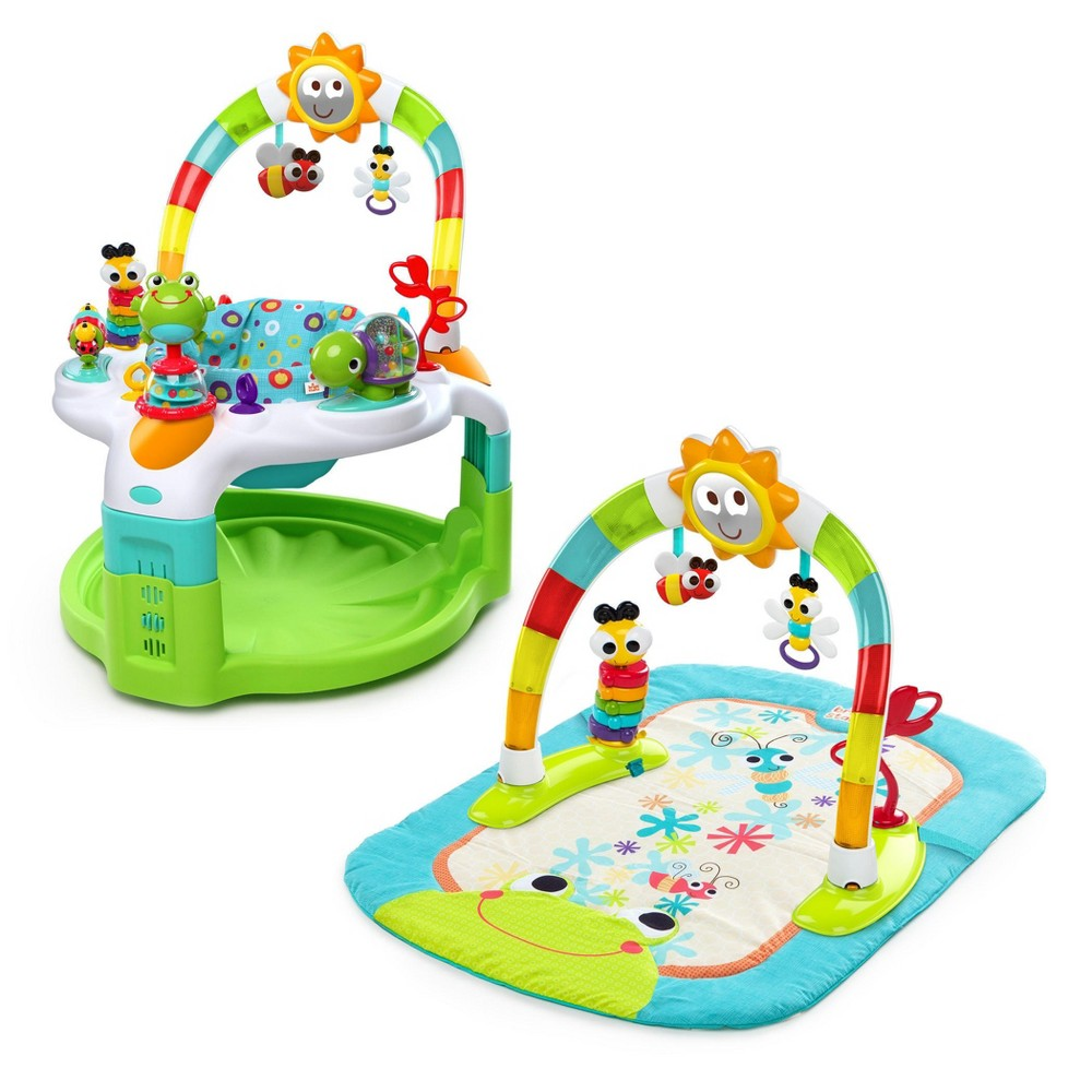 Image of Bright Starts 2-in-1 Laugh & Lights Activity Gym & Saucer - Green/Blue, Beige
