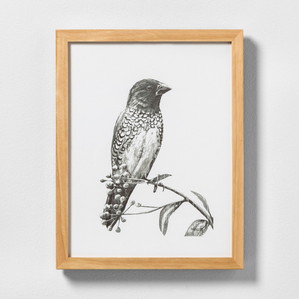 """Image of """"11"""""""" X 14"""""""" Sketched Bird on Branch Wall Art with Natural Wood Frame - Hearth & Hand with Magnolia"""""""