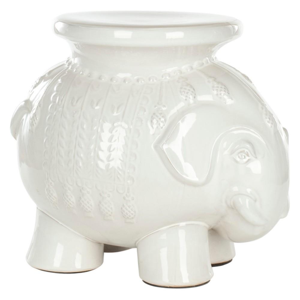 Elephant Garden Stool White Safavieh