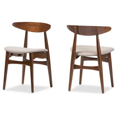 Flora Mid Century Modern Light Gray Fabric U0026 Oak Medium Brown Finishing Wood  Dining Chairs (Set Of 2)   Baxton Studio