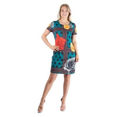 24seven Comfort Apparel Women's Short Sleeve Shift Dress