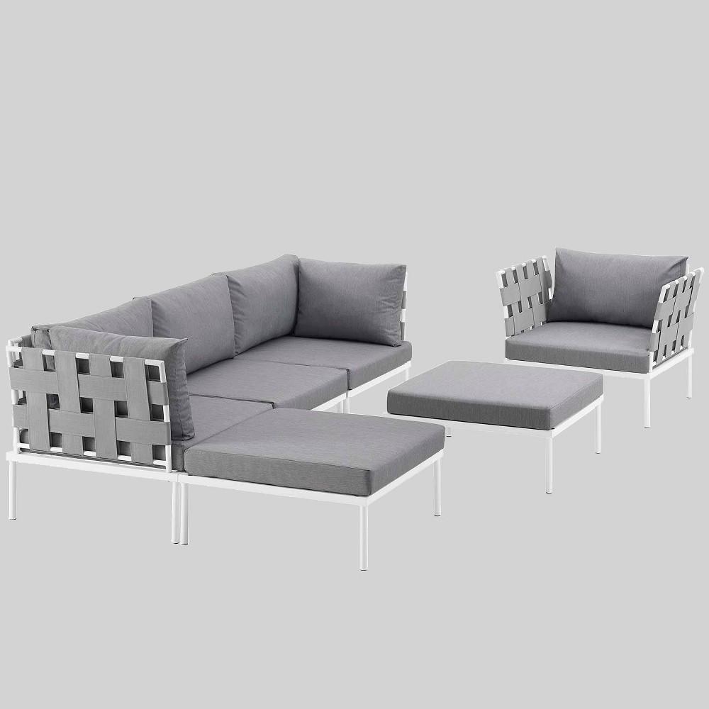 Harmony 6pc Aluminum Outdoor Patio Sectional Sofa Set - Gray - Modway