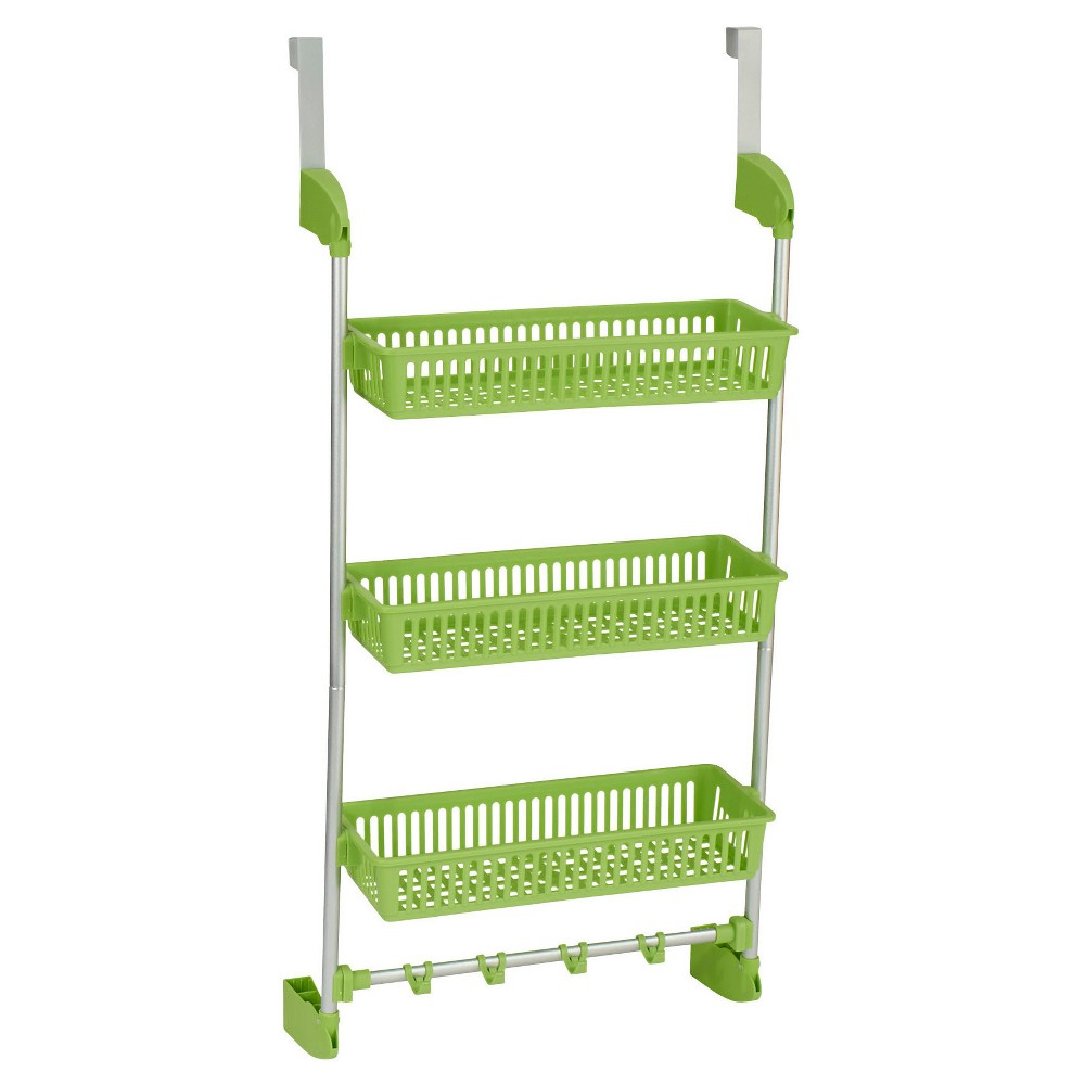 Household Essentials - 3-Basket Over-the-Door Organizer - Lime (Green) The 3-Basket Over-the-Door Organizer from Household Essentials is an intelligent way to stay organized. The rack has 3 sturdy, plastic baskets to hold everything from bathroom toiletries to kitchen supplies. There are 4 hooks on the bottom for hanging loofahs, pot holders, scarves, ties, and more. This is the perfect organizer for kitchens, bathrooms and dorms. Color: Lime Green