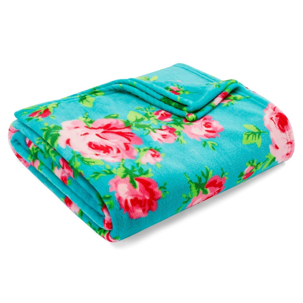 Twin Printed Bed Blanket Aqua Floral Betseyville