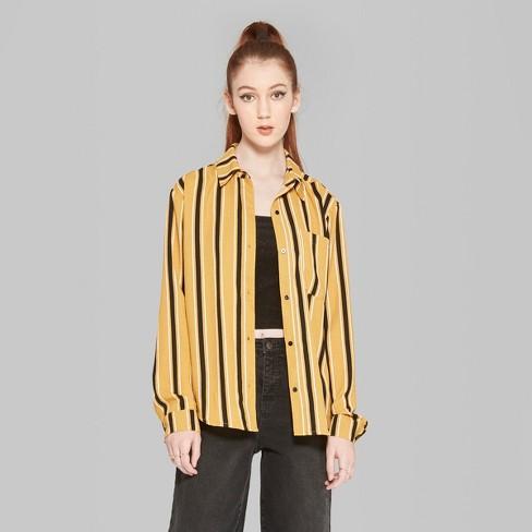 97c9e44b Women's Striped Long Sleeve Tie Front Button-Down Shirt - Wild Fable ...