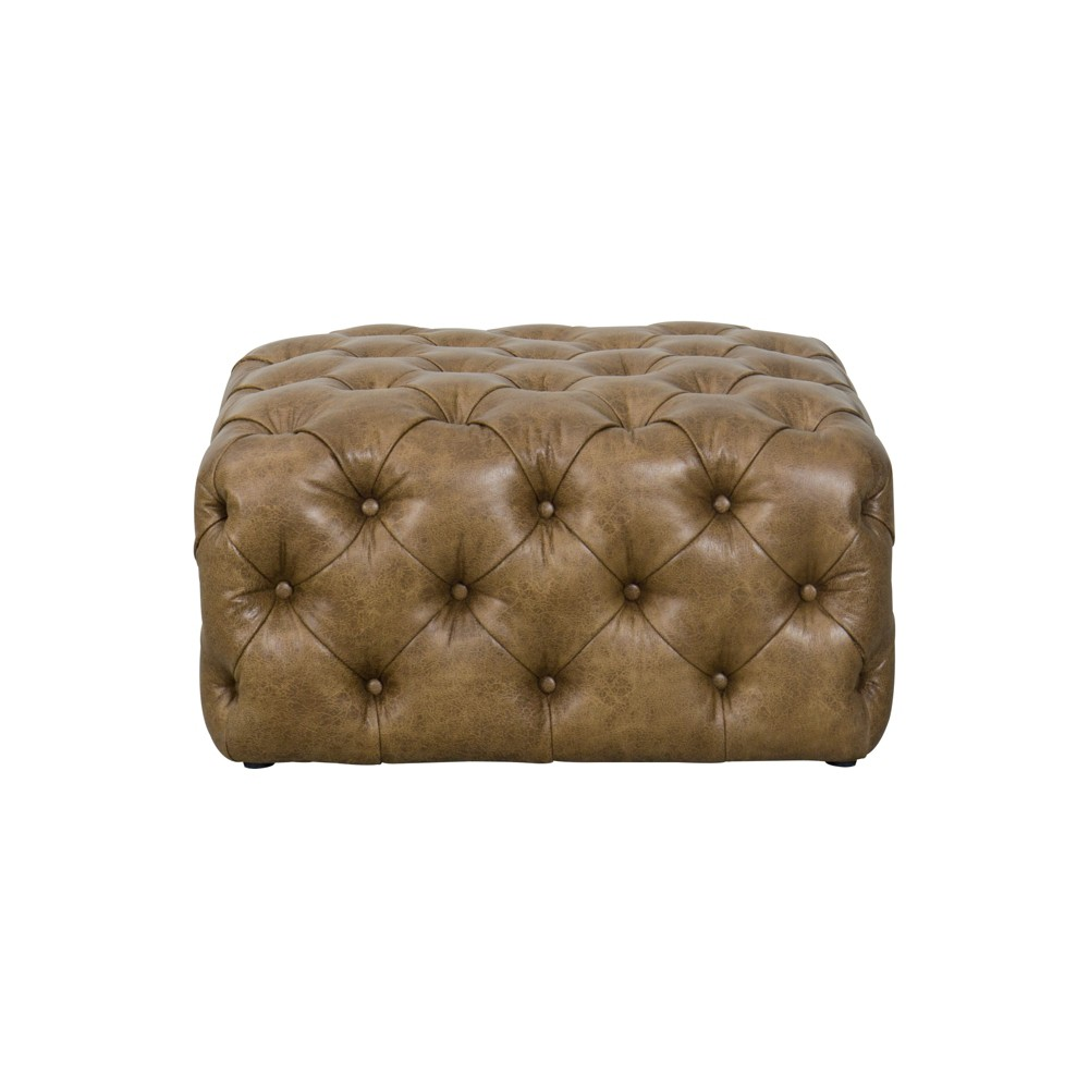 Large Square All Over Tufted Ottoman Faux Leather Light Brown - HomePop was $359.99 now $269.99 (25.0% off)