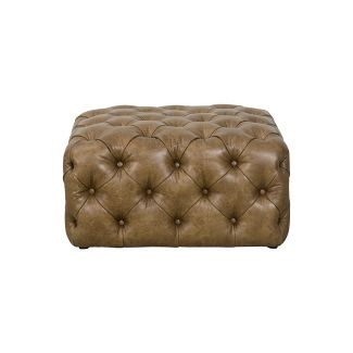 Large Square All Over Tufted Ottoman Faux Leather Light Brown - HomePop