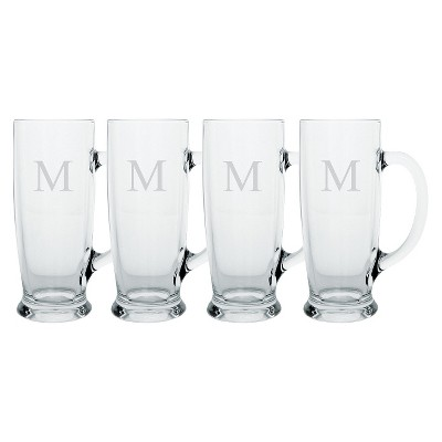 Cathy's Concepts 18oz 4pk Monogram Craft Beer Mugs M