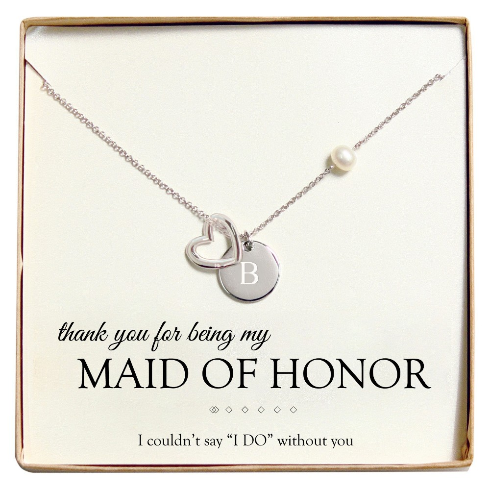 Monogram Maid of Honor Open Heart Charm Party Necklace - B, Silver