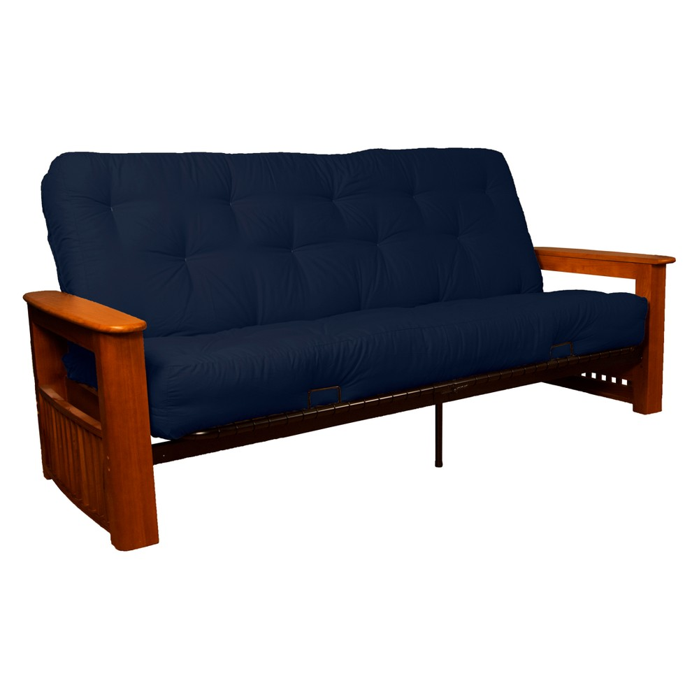 Flip Top Arm 8 Inner Spring Futon Sofa Sleeper Walnut Wood Finish Navy (Blue) - Epic Furnishings