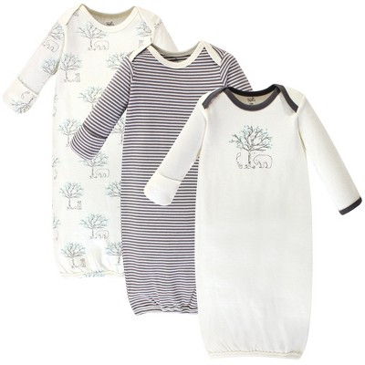 Touched by Nature Baby Organic Cotton Long-Sleeve Gowns 3pk, Birch Tree, 0-6 Months