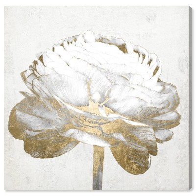 "12"" x 12"" Gold and Light Floral II White Floral and Botanical Unframed Canvas Wall Art in Gold - Oliver Gal"