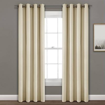 Faux Linen Absolute Blackout Grommet Top Single Window Curtain Panel - Lush Décor
