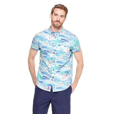 41ec3470135 Men s Island Scene Short Sleeve Woven Button-Down Shirt - Blue - vineyard  vines®