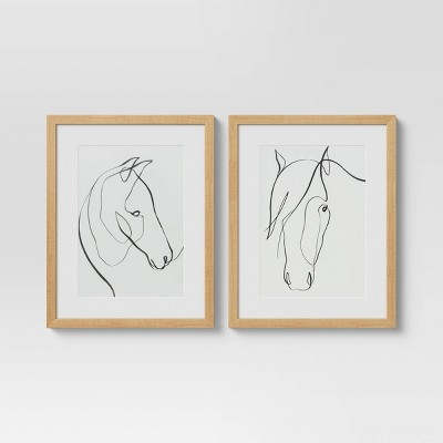 "14"" x 11"" Set of 2 Framed Print Horses Wall Art White - Project 62™"