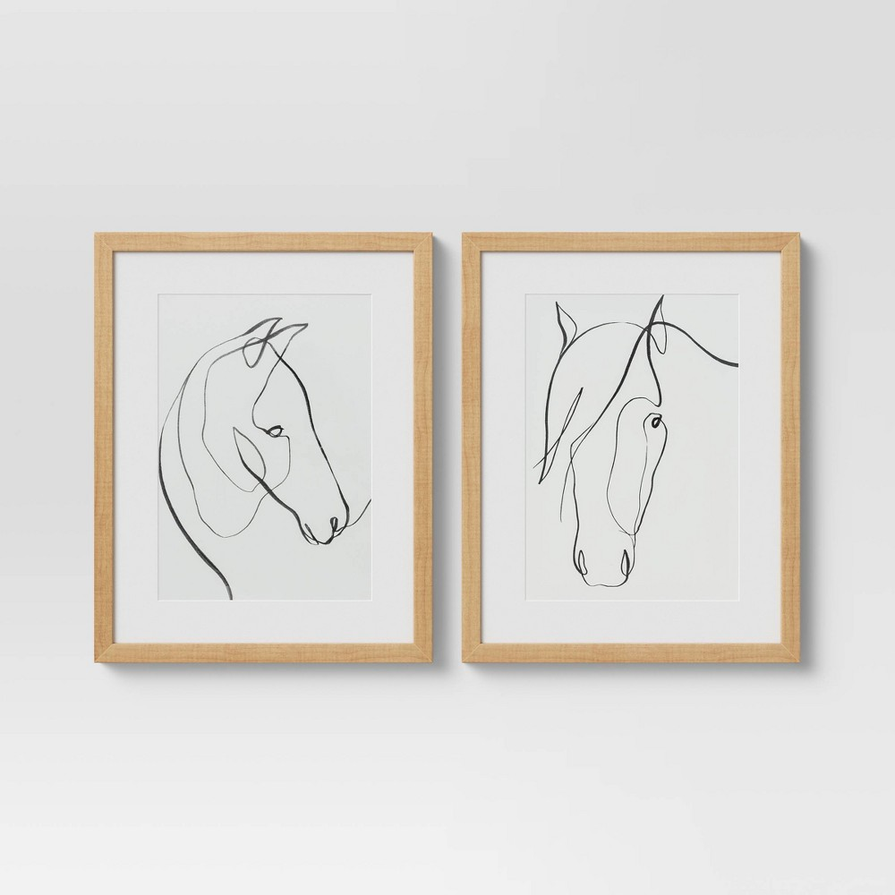 """Image of """"11"""""""" x 14"""""""" Set of 2 Framed Print Horses Wall Art White - Project 62"""""""