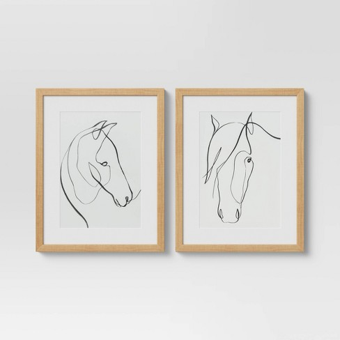 """14"""" x 11"""" Set of 2 Framed Print Horses Wall Art White - Project 62™ - image 1 of 4"""