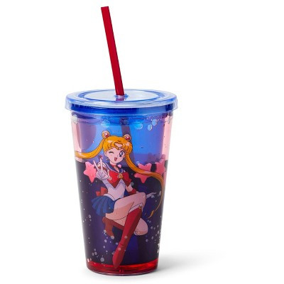 Just Funky Sailor Moon Confetti Plastic Tumbler Cup With Lid & Straw | Holds 16 Ounces