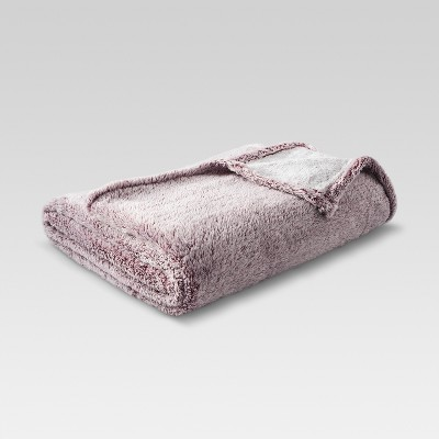 Fuzzy Blanket Full/Queen Heathered Red - Threshold™