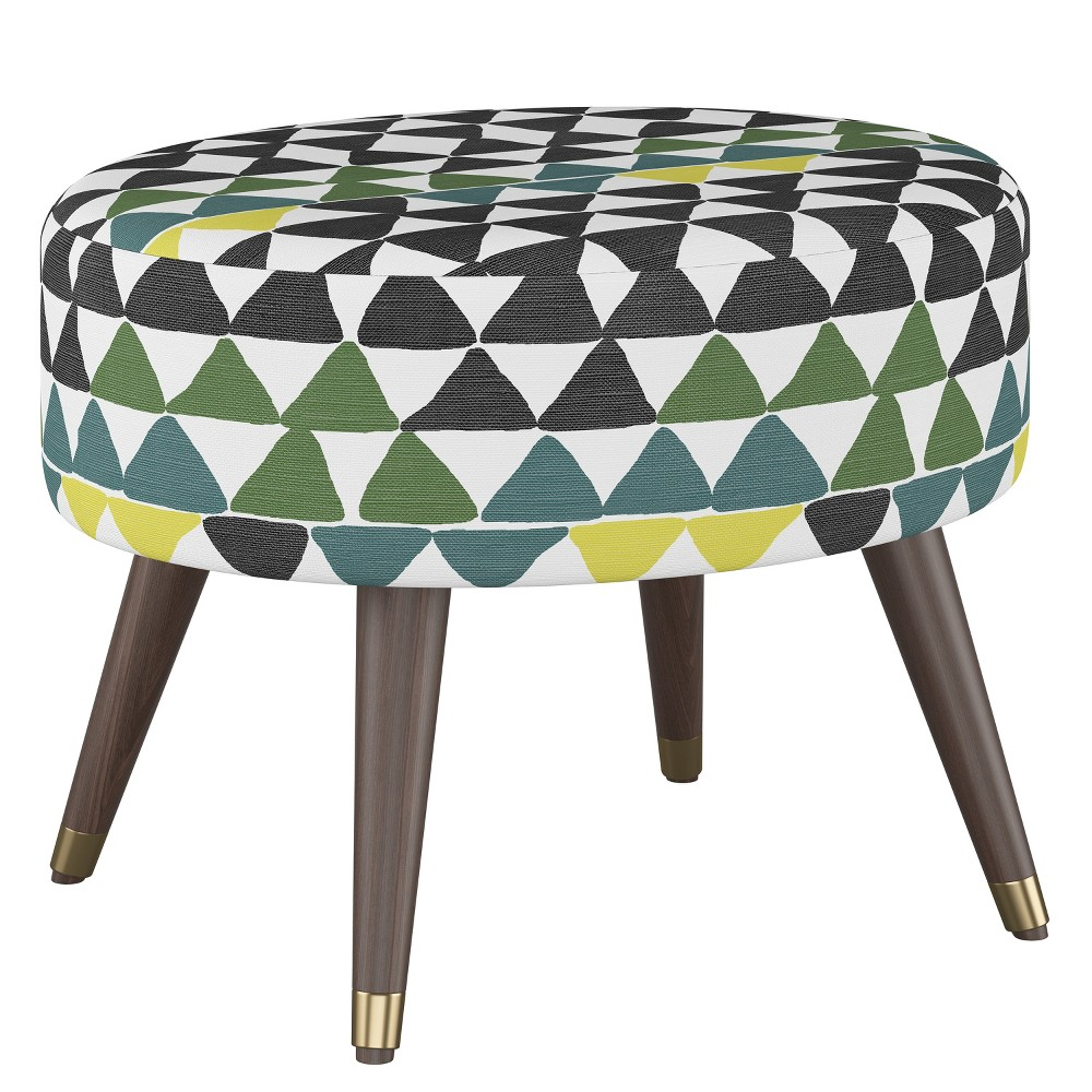 Super Farwell Oval Ottoman With Gold Caps Tribal Triangle Multi Cjindustries Chair Design For Home Cjindustriesco