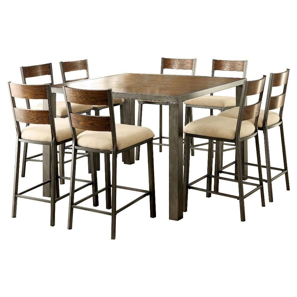 Sun & Pine 9pc Industrial Plank Top Table Set - Weathered Oak