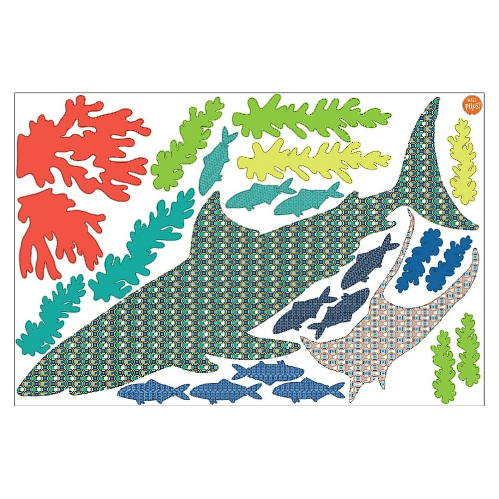 Image of WallPops! Bart The Shark Wall Art Kit - Blue/Green