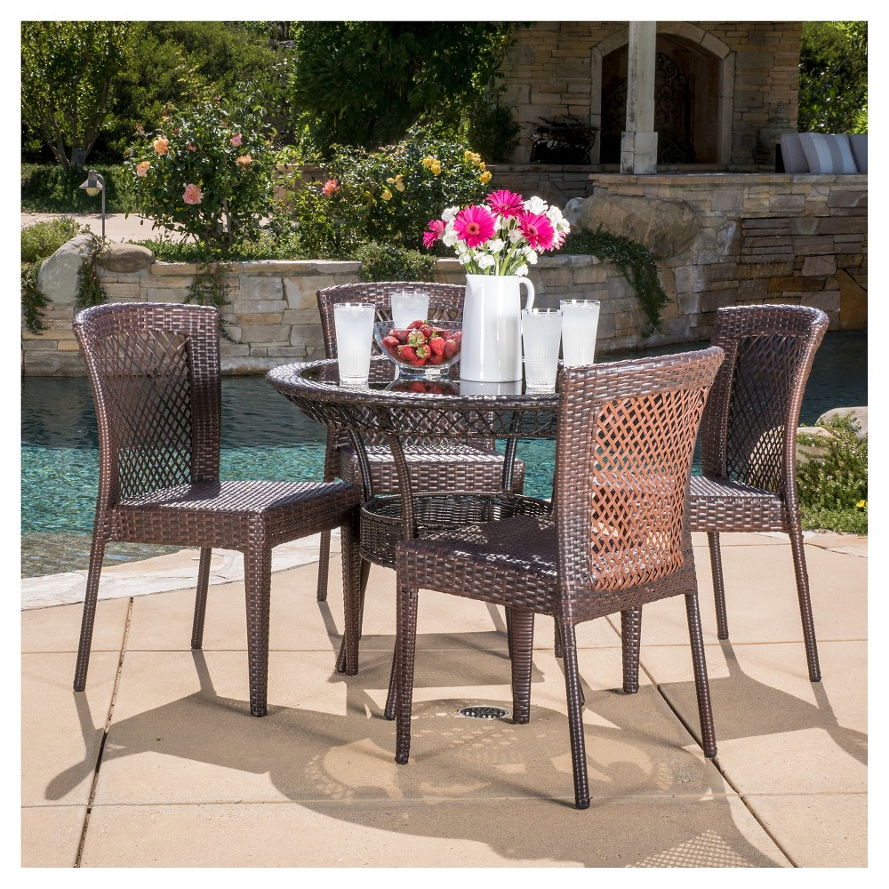 Farley 5pc Wicker Patio Dining Set - Brown - Christopher Knight Home
