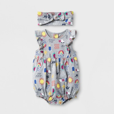 Baby Girls' Romper - Cat & Jack™ Heather Gray 3-6M