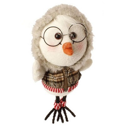 """Raz Imports 9"""" White Bird with Red Plaid Faux Fur Trimmed Hoodie and Leg Warmers Christmas Ornament - White/Gray"""