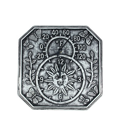 """Swim Central 13.75"""" Gray Terracotta Embossed Sun, Flowers and Butterflies Indoor or Outdoor Wall Clock Thermometer"""