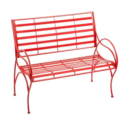 Cape Craftsmen Red Swirl Picnic Outdoor Safe Iron Garden Bench