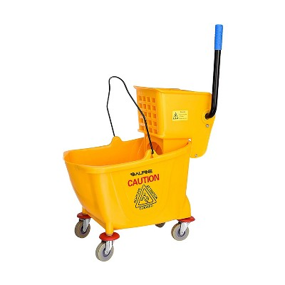 Alpine Industries 36 Quart Capacity Heavy Duty Commercial Mop Bucket with Removable Side Wringer, Rounded Front Lip, & Non Marking Wheels, Dark Yellow