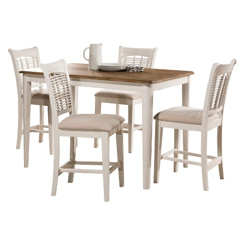 Bayberry 5pc Counter Height Dining Set With 4 Stools Off White