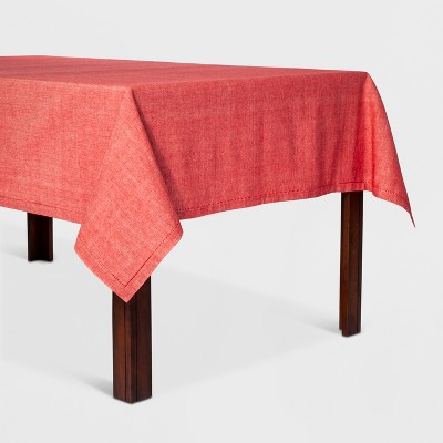70 x52  Chambray Hemstitch Tablecloth Red - Threshold™