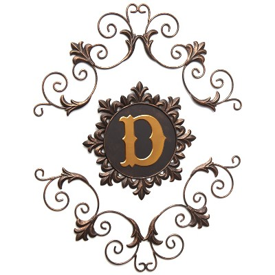 Lakeside Ornate Metal Monogram Wall Hanging Decoration for Home - 3 Pieces