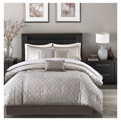 Hudson 7 Piece Comforter Set- Silver (Queen )