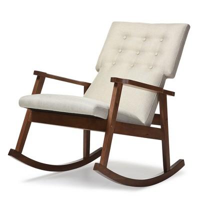 Agatha Mid - Century Modern Light Fabric Upholstered Button - Tufted Rocking Chair - Light Beige - Baxton Studio