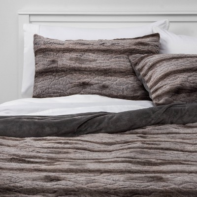 King Faux Fur Comforter and Sham Set Gray - Threshold™