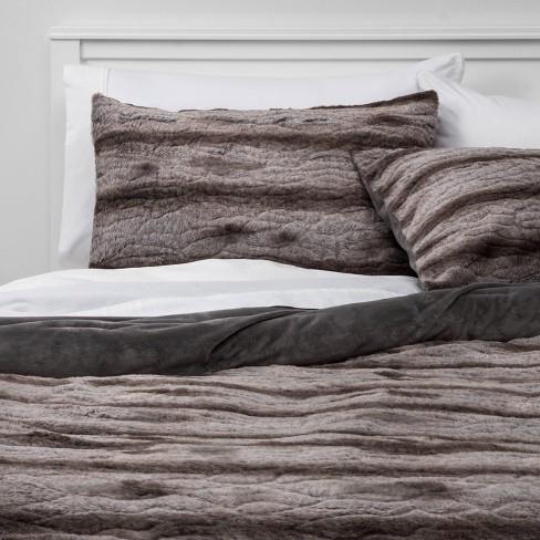 Textured Faux Fur Comforter Sham Set, Target Gray Bedding Sets