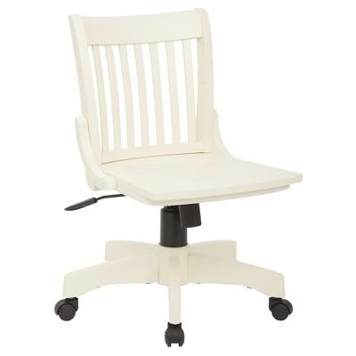 armless wood banker s chair antique white office star target rh target com white wooden swivel desk chair white wooden swivel desk chair
